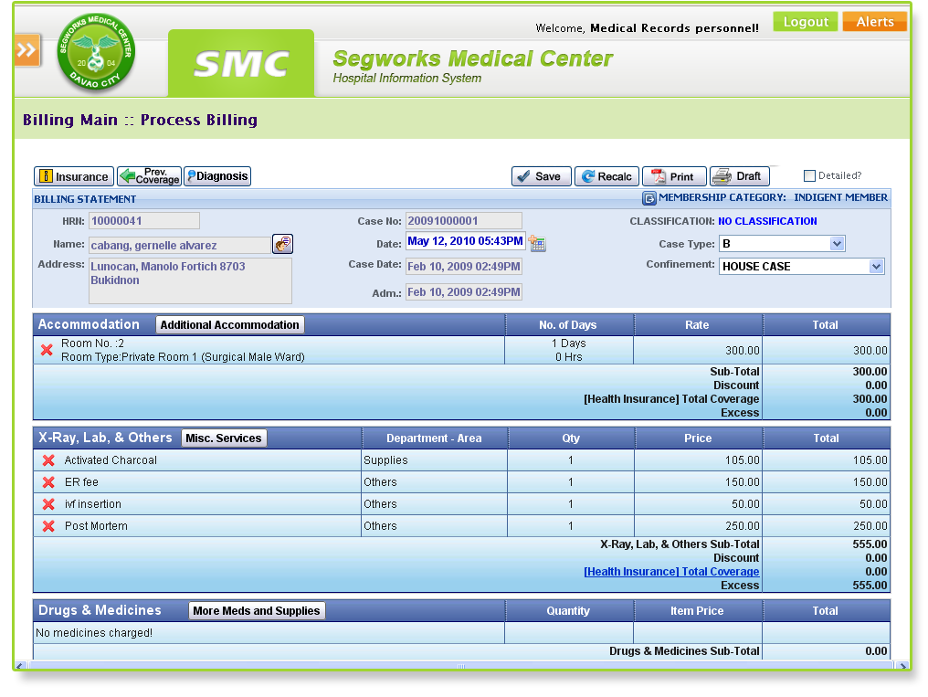 computerized patient info and billing system